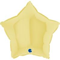 """Star 18"""" Matte Yellow Foil Balloon GRABO Flat"""