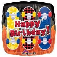 "Happy Birthday Skateboard  Square 18"" Foil Balloon"