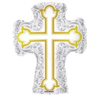 "Silver and Gold Cross Shape - 28""/71cm"
