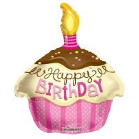 "Happy Birthday - Cupcake Pink - 18"" foil balloon"