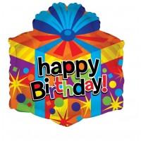 "Happy Birthday Colourful Present 18"" Foil Balloon"