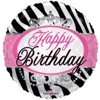 "Happy Birthday Zebra Print - 18"" foil balloon"