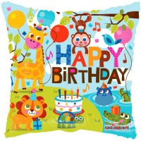 Happy Birthday - Zoo Animals 18inch Foil Balloon