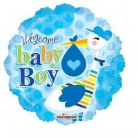 "Welcome Baby Boy Stork 18"" Foil Balloon"