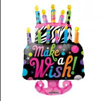 "Funky Cake - Make A Wish - 36"" Foil Balloon"