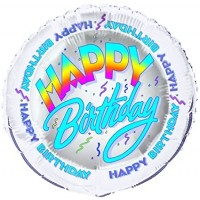 """Happy Birthday Silver and Blue 18"""" Foil Balloon"""