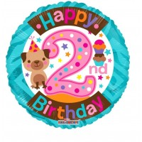 """Happy 2nd Birthday With Puppy 18"""" Foil Balloon"""
