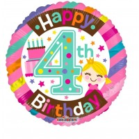 "Happy 4th Birthday 18"" Foil Balloon"