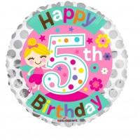 "Happy 5th Birthday 18"" Foil Balloon"