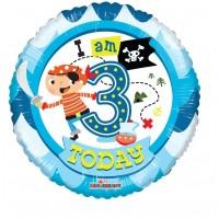"I Am Three Today 18"" Foil Balloon"