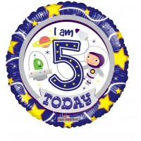 """I Am Five Today 18"""" Foil Balloon"""
