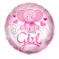 """Pink Baby Elephant """"Baby Girl"""" - 18"""" Foil Balloon"""