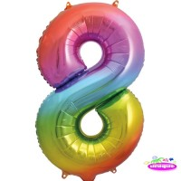 "34"" Rainbow Number 8 - Foil Balloon"