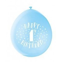 "Happy 1st Birthday 9"" Latex Air Fill Balloon - Assorted Colours, Printed 1 Side - 10ct."