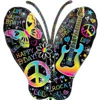 Neon Birthday Butterfly Shape 84cm x 56cm