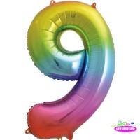"34"" Rainbow Number 9 - Foil Balloon"