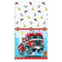 Fast Fire Engine Plastic Tablecover - Bulk buy 48 units