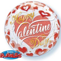 "Valentine's Red Hearts 22"" Single Bubble"