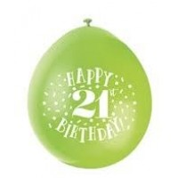 "Happy 21st Birthday 9"" Latex Air Fill Balloon - Assorted Colours, Printed 1 Side - 10ct."