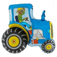 "Tractor Blue 29"" Foil Balloon packaged w/out card"