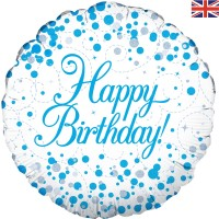 """Happy Birthday With Blue Dots 18"""" Foil Balloon"""