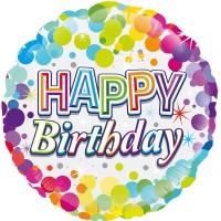 "Happy Birthday Colourful Confetti Birthday 18"" Foil Balloon"