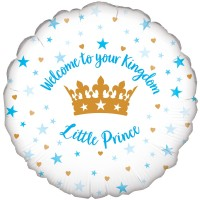 "Blue & White ""Welcome To Your Kingdom Little Prince"" - 18"" Foil Balloon"