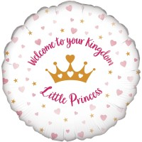 "Pink & White ""Welcome To Your Kingdom Little Princess"" - 18"" Foil Balloon"