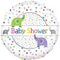 "Dots & Elephants Baby Shower 18"" Foil Balloon"
