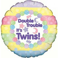 "Double Trouble, It's Twins - 18"" Foil Balloon"
