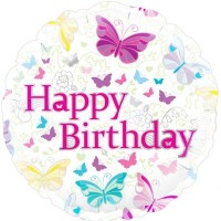 """Butterflies and Flowers Happy Birthday 18"""" Foil Balloon"""