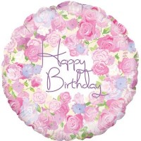 "Roses 'Happy Birthday' Vintage 18"" Foil Balloon"