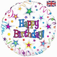 """Happy Birthday - Streamers and Stars 18"""" Foil Balloon"""