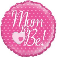 "Mum To Be! Pink with Dots 18"" Foil Balloon"