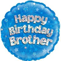 "Happy Birthday Brother Holographic - 18"" Foil Balloon"