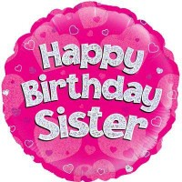 "Happy Birthday Sister Holographic - 18"" Foil Balloon"