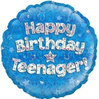 "Happy Birthday Teenager Blue Holographic - 18"" Foil Balloon"