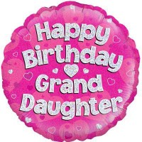 "Happy Birthday Granddaughter Holographic - 18"" Foil Balloon"
