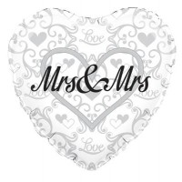 "Mrs and Mrs Wedding - 18"" foil balloon"
