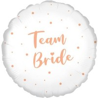 "Team Bride White with Rose Gold Dots 18"" Foil Balloon"
