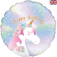 "Happy Birthday Pastel Unicorn 18"" Foil Balloon"