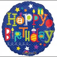 "Happy Birthday With Stars 18"" Foil Balloon"