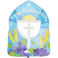 "1st Communion Blue Junior Shape - 18"" Foil Balloon"