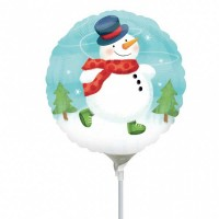 "Whimsical Snowman 9"" Air Inflation Foil Balloon - Flat"