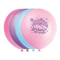 Princess Party Latex 12'' Printed Balloons 1 Side 8CT
