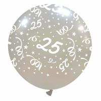 "25th Anniversary 32"" Silver Metallic Latex Balloon 1ct"