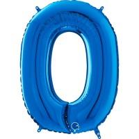 "Number 0 Blue 26"" (Unpackaged) Foil Balloon GRABO"