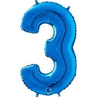 "Number 3 Blue 26"" (Unpackaged) Foil Balloon GRABO"