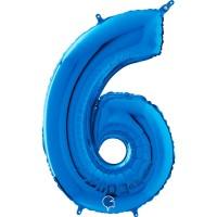 "Number 6 Blue 26""  (Unpackaged)Foil Balloon GRABO"
