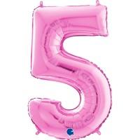 "Number 5 Fuschia 26"" (Unpackaged) Foil Balloon GRABO"